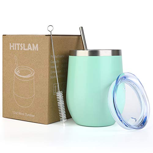 HITSLAM Wine Tumbler 12oz Stainless Steel Tumbler Vacuum Insulated Wine Glass Double Wall Coffee Mug for Champaign, Beer, Office use includes Straw Lid, Straw, Cleaning Brush (Mint)