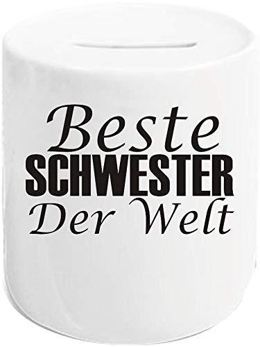 Shirtstown Hucha, mejor hermana del mundo, hucha, hucha de cerdito para ahorrar dinero, regalo, texto en alemán, logotipo, amigo, amor
