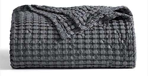 Bedsure Waffle Bamboo Blanket Cotton - Waffle Weave Blanket King Size, Soft Lightweight Bed Blanket for All Season(104x90 inches, Scottish Grey)