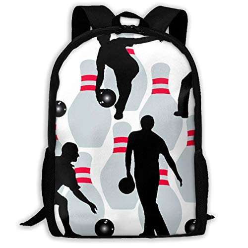 huatongxin School Backpack Bowling and Bowling Player Bookbag Casual Travel Bag for Teen Boys Girls