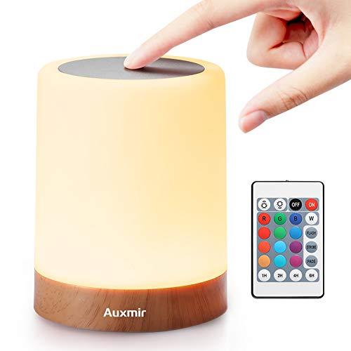Auxmir Luce Notturna Lampada da Comodino Colorata RGB Lampada LED con 13 Colori 5 Livelli di Luminosità 3 Modi di Illuminazione Batteria al Litio Ricaricabile Portabile con Telecomando
