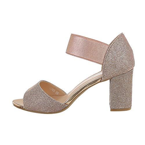 Ital Design Damenschuhe Sandalen & Sandaletten High Heel Sandaletten, 3865-, Synthetik, Rosa Gold, Gr. 38