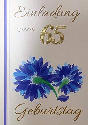 Uitnodigingskaarten 65 verjaardag vrouw man met binnentekst motief blauwe bloemen 10 vouwkaarten DIN A6 staand formaat met witte enveloppen in set verjaardagskaarten uitnodiging 65 verjaardag man vrouw K227