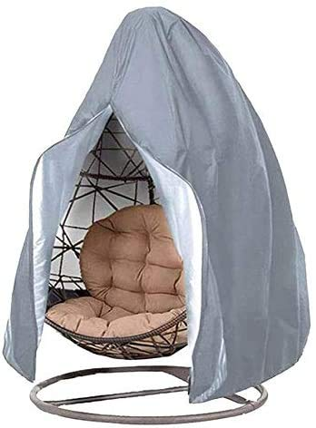 AOOPOO Patio Hanging Chair Cover, 190x115CM Waterproof Anti-dust Egg Swing Chair Covers with Zipper and Drawstring 210D Oxford Fabric Veranda Patio Cocoon Egg Chair Cover (115 x 190 CM, Grey)