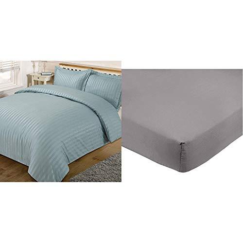 Dreamscene Beautiful Satin Stripe Duvet Bedding Set, Duck Egg Blue, King & AmazonBasics Microfibre Fitted Sheet, King, Dark Grey