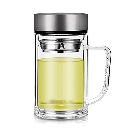 Fengshop Tazas para niños Vidrio de Doble Capa de Taza de café con una Taza de Oficina de Mango, Taza de Bebida para el hogar, Taza de té de Gran Capacidad con Tapa de Taza Personal Especial Taza