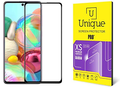 Unique Tempered Glass for Samsung M51/Samsung A71 (Black) Edge to Edge Full Screen Coverage with Easy Installation Kit (Pack of 1)