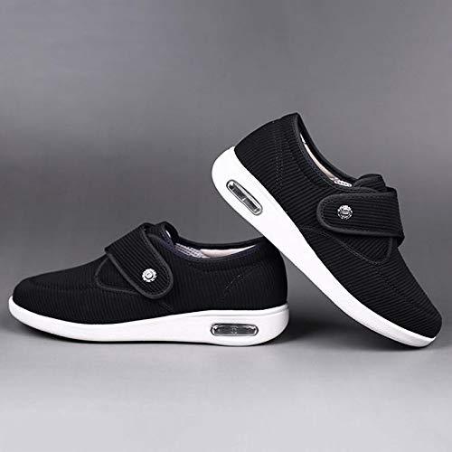 XRDSHY Zapatos para Diabéticos Zapatos Extra Anchos para Pies Hinchados Zapatos Cómodos para La Casa del Edema De Artritis,Black-EU48/290mm