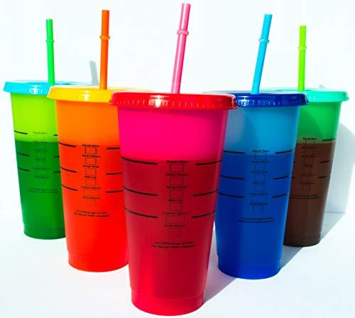 Marvelously Unique Boutique - Farbwechselbecher | Set mit 5 wiederverwendbaren Bechern mit Deckel und Strohhalmen | 680 ml kalte Tasse | Eiskaffeebecher