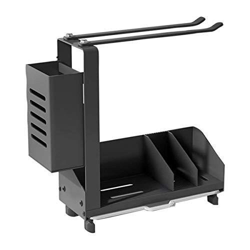 VANOLU Organizador de esponja para fregadero de cocina + toallero y soporte para escobillas, con bandeja de drenaje extraíble, se puede colocar en el escritorio