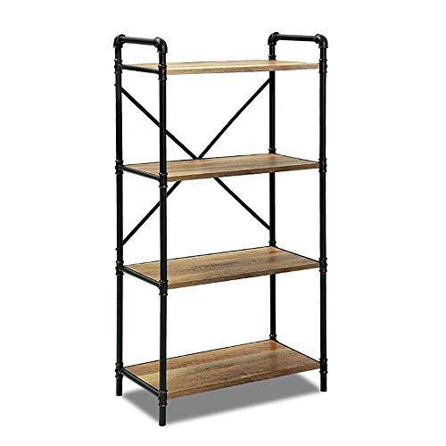 Uioy Moderner Schmiedeeisen-Retro-Bücherregal-Dachboden mehrstufiger Raumtrenner aus massivem Holzboden (Farbe : Schwarz, Größe : B)