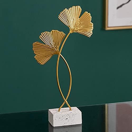 Omela Deko Figuren Gold Blätter aus Metall Modern Dekofigur Klein Deko Objekt Tischdeko für Wohnzimmer Outside Garten Modern Skulptur Accessoires Geschenkidee 4 x 14 x 28 cm