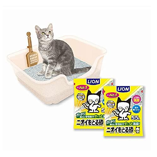 【Amazon.co.jp限定】 ライオン(LION) 獣医師開発 ニオイをとる砂専用 猫トイレ + ニオイをとる砂 無香料 5.5L×2袋