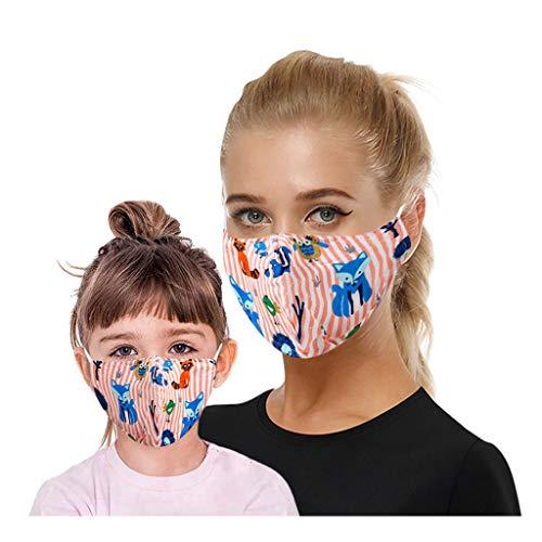 Eaylis 1 Stück Kinder Face Mask Einweg 3-lagig Atmungsaktiv Face Cover, Outdoor Anti-Staub Bandana Loop Cartoon Druck Face Halstuch für Jungen und Mädchen für Laufen, Radfahren