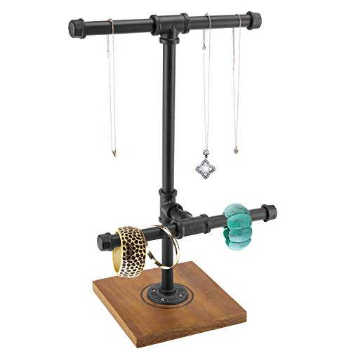 MyGift 2-Tier Metal Industrial Black Pipe T-Bar Jewelry Necklace & Bracelets Organizer Display Rack Tower w/Wood Base