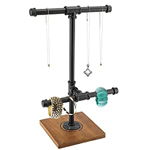 MyGift 2-Tier Metal Industrial Black Pipe T-Bar Jewelry Necklace & Bracelets Organizer Display Rack Tower w/Wood Base