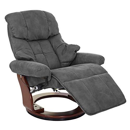 Mendler MCA Relaxsessel Calgary 2, Fernsehsessel Sessel, Stoff/Textil 150kg belastbar ~ dunkelgrau, Walnuss-Optik