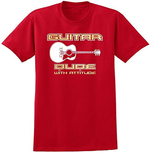 MusicaliTee Acoustic Guitar Dude Attitude - Red Rot T Shirt Größe 87cm 36in Small