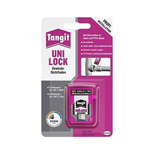 Tangit Uni-Lock, Gewindedichtfaden für Kunststoff- & Metallgewinde, Gewindedichtband für Wasser-, Gas & Druckluftleitungen bis zu 2