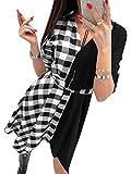 YOINS Vestito Elegante da Donna Manica Lunga Abiti a Quadri Scollo a V Abito Scozzese da Cocktail A-Nero M
