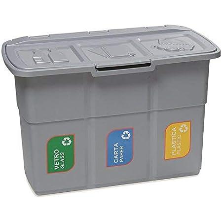 DEA HOME Pattumiera per raccolta differenziata ECOPAT, 3 scomparti da 25 lt, in plastica da interni ed esterni.