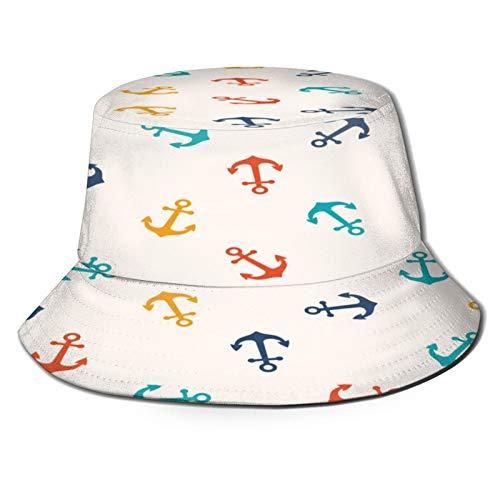 Yoliveya Sombrero de Pesca,Patrón Transparente Vector con Anclas Pueden Ser,Senderismo para Hombres y Mujeres al Aire Libre Sombrero de Cubo Sombrero para el Sol
