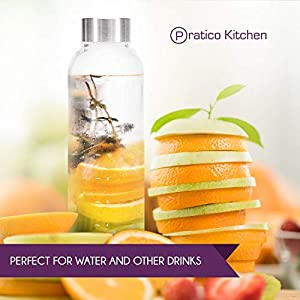 Pratico Kitchen 18 oz.Leak-Proof Clear Glass Bottles, Juicing Containers, Water / Beverage Bottles - 6-Pack  