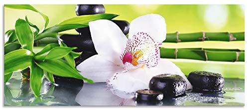 Artland Spritzschutz Küche aus Alu für Herd Spüle 50x120 cm Küchenrückwand mit Motiv Natur Zen Pflanze Spa Steine Bambus Asien Orchidee T9IQ