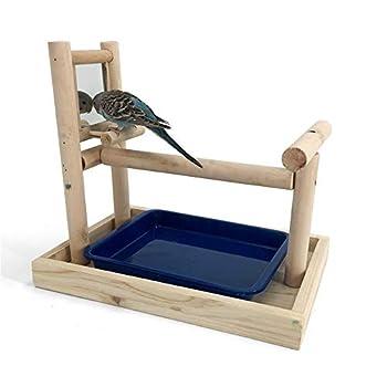 JOMSK Perroquets PlayStand Bois Parrot Miroir Aire de Jeux Bureau de Formation Rod Oiseaux Stand Bracelets de Cheville Fournitures (Color : Multi-Colored, Size : B)
