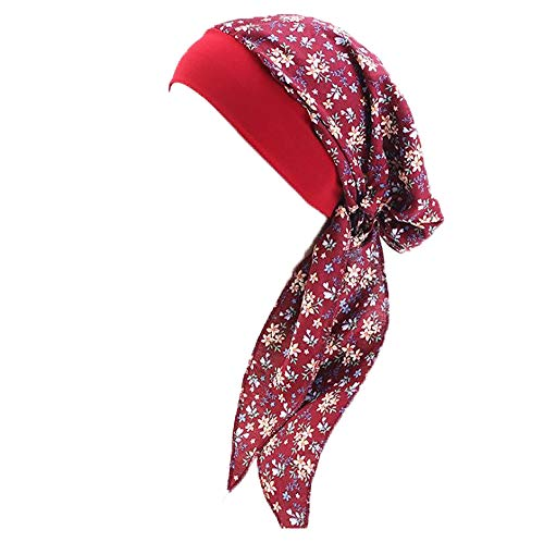 Kopftuch für Frauen, Baumwolle Kopf Wrap Turban Hut Damen Kopfbedeckung Bandana Cap Kopfbedeckung Gr. Einheitsgröße, Wein 1