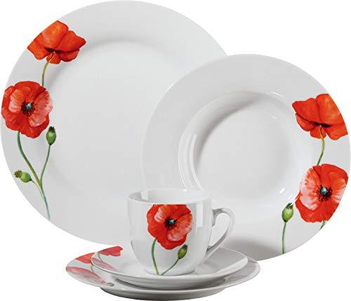 Gepolana Kombiservice - 30-tlg. - Kaffeegeschirr für 6 Personen - Geschirrset - Porzellan - rot - Mohnblume - spülmaschinengeeignet - mikrowellengeeignet