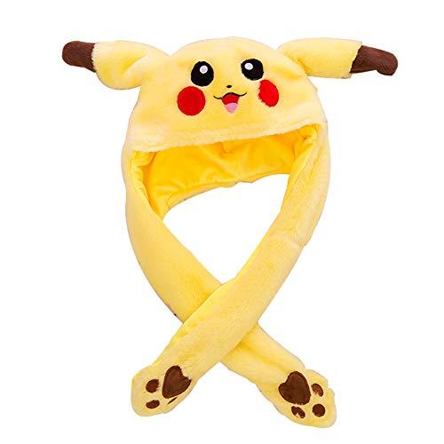 Pikachu tocados de peluche, diseño de orejas móviles, color amarillo