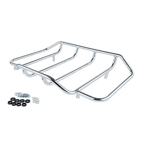 XMT-MOTO Tour Pack Luggage Rack fits for 1984-2020 Harley Davidson Touring King, Chopped and Razor Pack Tour Pack Carrier Lids,Replace: 53665-87,Chrome