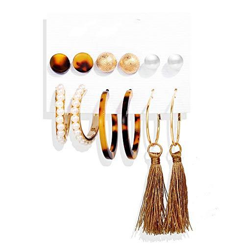 Juego de pendientes de borla con forma de círculo de perlas de imitación acrílicas para mujer, 6 piezas