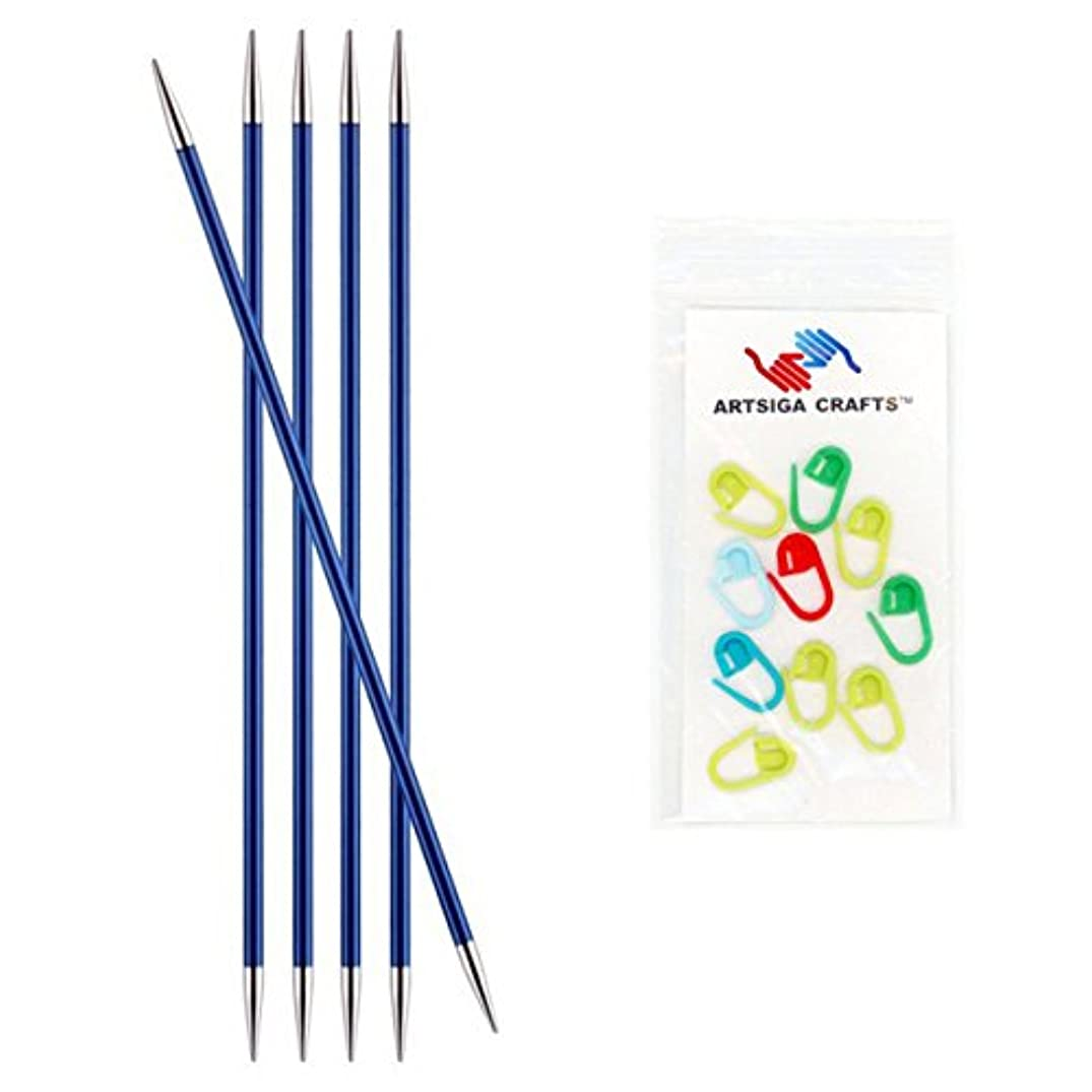 Knitter's Pride Zing Double Pointed Knitting Needles 8in. Size US 6 (4mm) Bundle with 10 Artsiga Crafts Stitch Markers 140039