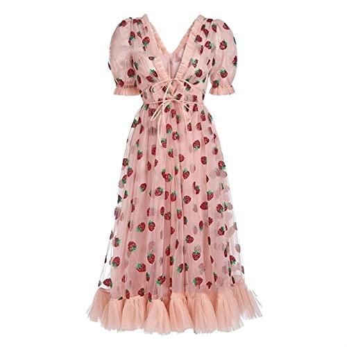 Scbolai Vestido de Fresas de Mujer con Cuello en V Profundo Vestidos de Malla Bordada de Cuello en V a línea Vestido Maxi de la Playa para Fiesta de Fiesta (Color : Pink, Size : S)