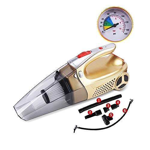PDXZM Aspirador de Mano Aspirador Mojado Y Seco De Múltiples Funciones De Mano De Gran Potencia De La Bomba De Aire Aspirador del Coche De Cuatro-en-uno Aspirador de Coche (Color : Gold)