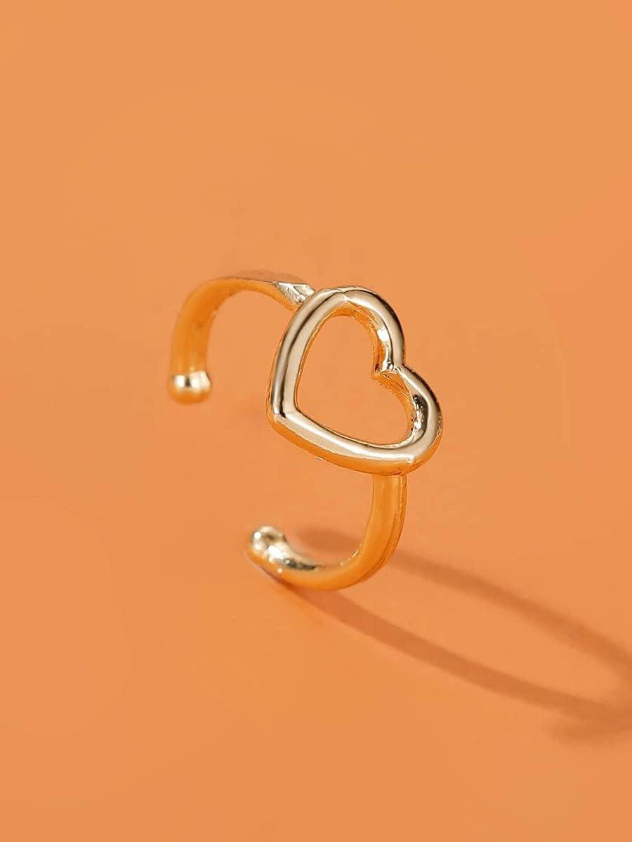 leonnn Hoop Earrings Hollow Out Heart Design Ear Cuff (Color : Gold)