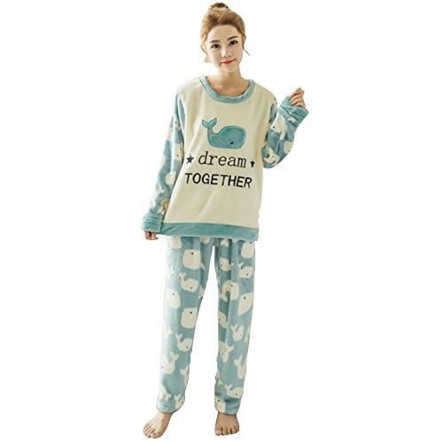 654a70343fc9 Pahajim Womens Girls Home Lazy Cute Winter Flannels Pajamas Sleepwear  Nightgown Nightclothes Set