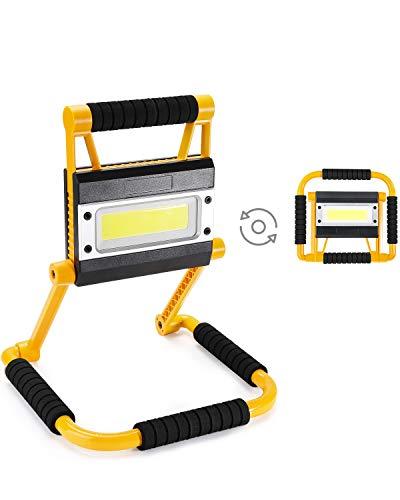 Elekin Faro LED Ricaricabile,Faretto Portatile,Faretto Pieghevole LED da Esterno,Impermeabile IP65 Faro LED Bianco 6000K,4 Modalità, Rotazione 360°,Lampada Luminosa con Cavo USB Faretto da Esterno