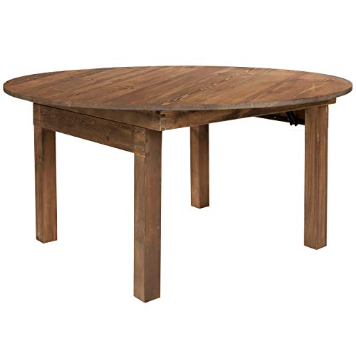 Flash Furniture HERCULES Series Round Dining Table | Farm Inspired, Rustic & Antique Pine Dining Room Table
