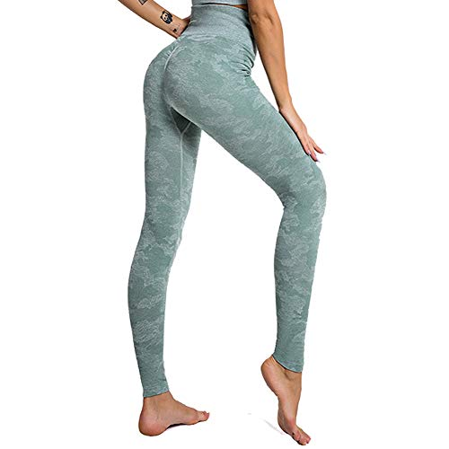 SotRong Mallas Camuflaje Deportivas Mujer Leggins Yoga Pantalones Elastico Cintura Altura Polainas para Running Pilates Fitness Leggings Verde M