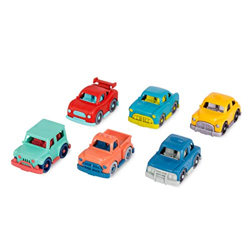 Wonder Wheels by Battat – Toy Cars – Set of 6 Mini Vehicles – Racer, Pick-Up Truck, Police Car, Taxi, Retro Car, 4x4 – Cars for Toddlers, Kids – 1 Year +