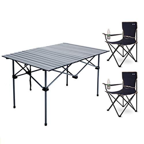 JHTRY Falten Tisch Tragetasche, Schemel, Tragbar Aluminiumlegierung Camping Picknick Essen Tabelle Computer Schreibtisch Zum Kochen Reise Angeln (Color : Table+2 Chair)