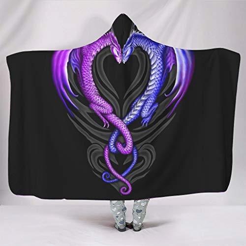 WellWellWell Manta cálida de peluche con capucha, diseño de dragón, amor, corazón, para adultos y niños, color blanco, 130 x 150 cm