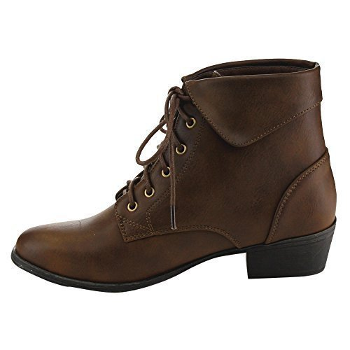 TOP Moda EC89 Women's Foldover Lace Up Low Chunky Heel Ankle, Brown, Size 9.0