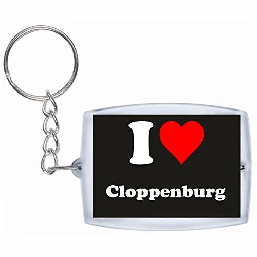 Druckerlebnis24 Schlüsselanhänger I Love Cloppenburg in Schwarz - Exclusiver Geschenktipp zu Weihnachten Jahrestag Geburtstag Lieblingsmensch