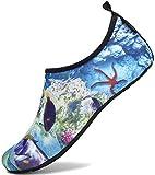 SAGUARO Chaussures Aquatiques Chaussons de Plongée d'eau Chaussettes Aqua pour Piscine et Plage Sports Nautiques Natation Surf Voile Mer Rivière pour Homme Femme (023 Multicolore,38/39 EU)