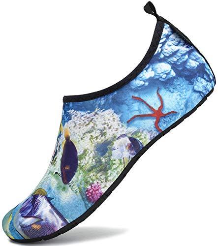 SAGUARO Escarpines Hombre Mujer para Buceo Snorkel Surf Natación Piscina Vela Mares Rocas Río Zapatos para Agua Calzado Playa Zapatillas Deportes Acuáticos (023 Multicolor,38/39 EU)