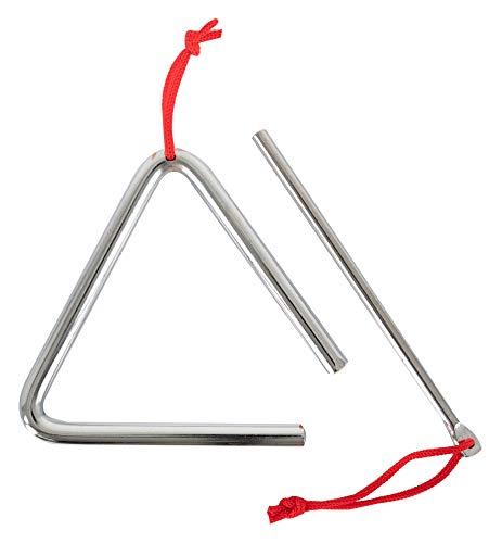 """Classic Cantabile Triangel mit Schlägel - Triangle aus Stahl für Kinder und Musikalische Früherziehung - Schlaginstrument mit 10cm (4\"""") Größe und Klöppel - Musikinstrument für Kindergarten"""